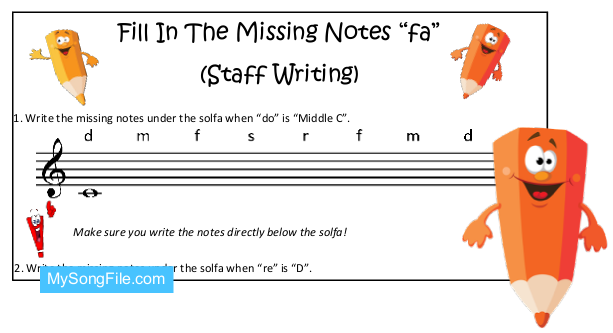 Fill In The Missing Notes Fa (Staff Writing) | My Song File