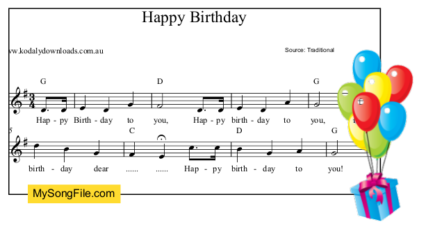 Happy Birthday - G Major | My Song File