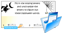 Halloween Words (Stave Reading Bass Clef)