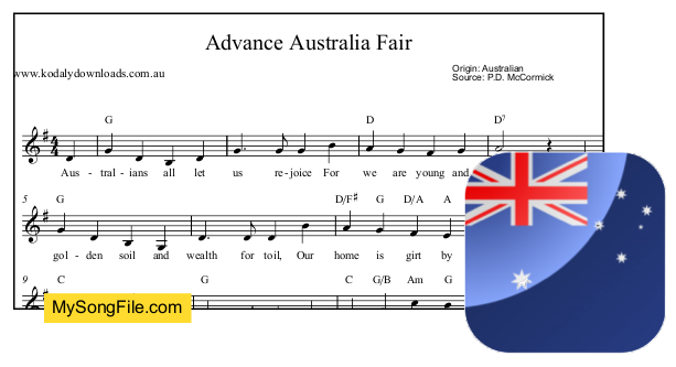 Advance Australia Fair - G Major | My Song File
