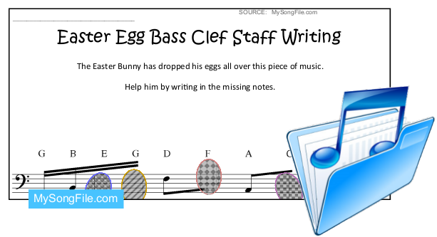 easter egg staff writing bass clef