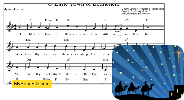 O Little Town of Bethlehem - F Major