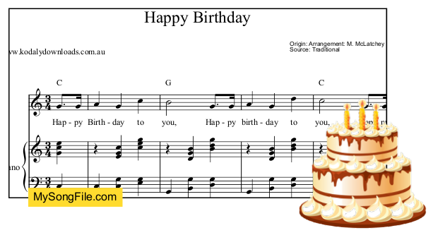 Happy Birthday - C Major - piano