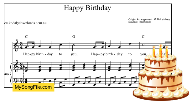 Happy Birthday - C Major - alberti bass