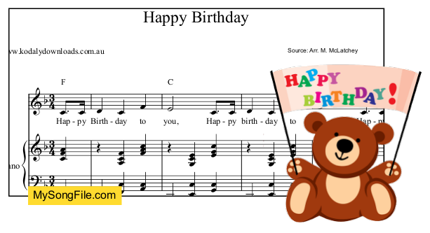 Happy Birthday - F Major - piano