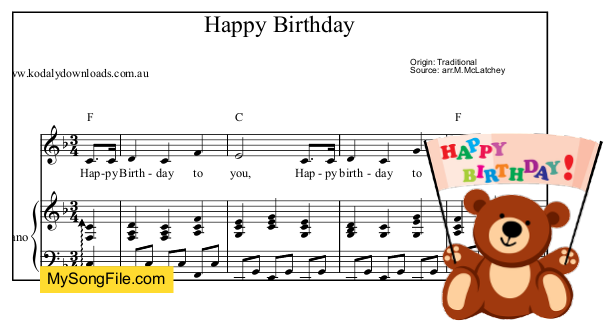 Happy Birthday - F Major - alberti bass